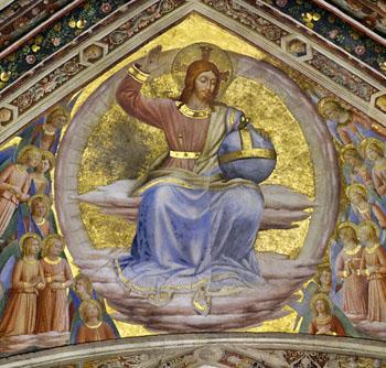 1447 --- Ceiling fresco from a program designed by Fra Angelico in the vault of San Brizio Chapel (Capella della Madonna di San Brizio) in the Orvieto Cathedral. --- Image by © Sandro Vannini/Corbis